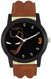 MS Black Dial Round Men IN Black Analogue Watch For Men