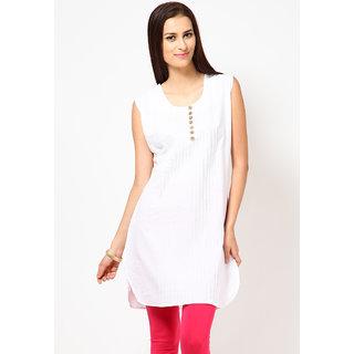 colobox White Plain Cotton Straight Kurti