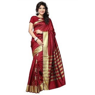 Indian Fashionista Red Plain Silk Saree With Blouse
