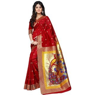 Indian Fashionista Red Printed Art Silk Saree With Blouse