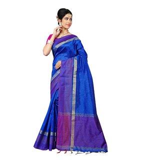 Indian Fashionista Blue Printed Bhagalpuri Silk Saree With Blouse