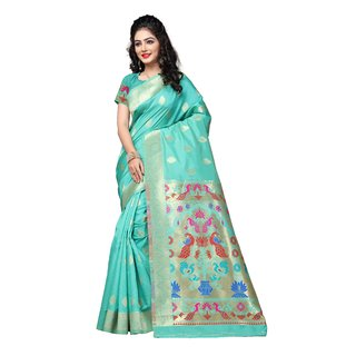 Indian Fashionista Turquoise Printed Art Silk Saree With Blouse