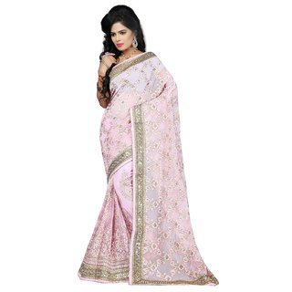 Indian Fashionista Pink Embroidered Net Saree With Blouse