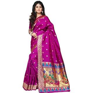 Indian Fashionista Purple Printed Art Silk Saree With Blouse