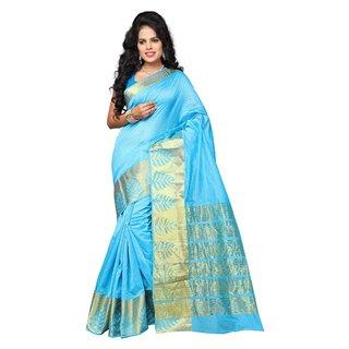 Indian Fashionista Sky Blue Woven Design Banarasi Silk Saree With Blouse