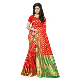 Indian Fashionista Red Paithani Kanchipuram silk Saree With Blouse