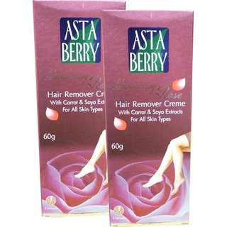 Astaberry ROSE hair remover creme with carrot soya extract 60g (pack of 2)