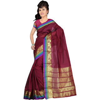 Indian Fashionista Maroon Solid Crepe Saree With Blouse