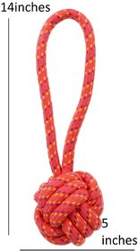 W9 Dog Chew Ball Rope Toy (Peach)