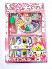 New Nail Art Kit Includes Design Glitter Beads Stamping Glue MakeUp Cosmetic Set, box size- 16/10.5
