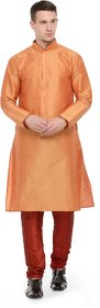 RG Designers Orange  Maroon Full Sleeves Kurta Pyjama Set For Men