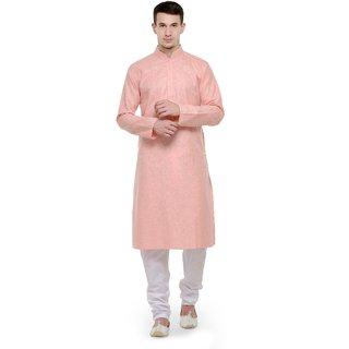 RG Designers Peach  White Full Sleeves Kurta  Pyjama Set For Men