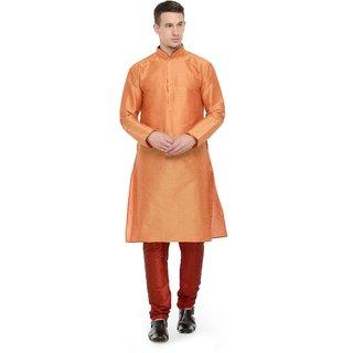 RG Designers Orange  Maroon Full Sleeves Kurta Pyjama Set For Men
