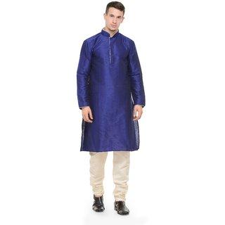 RG Designers Blue  White Full Sleeves Kurta  Pyjama Set For Men