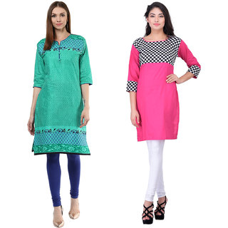Meia Green and Pink  Printed Cotton Stitched Kurti (Combo of 2)