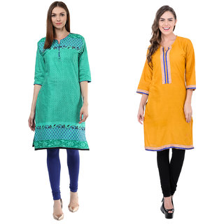 Meia Green and Yellow  Printed Cotton Stitched Kurti (Combo of 2)