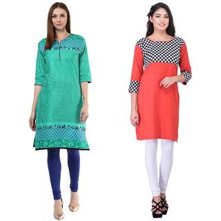 Meia Green and Orange  Printed Cotton Stitched Kurti (Combo of 2)