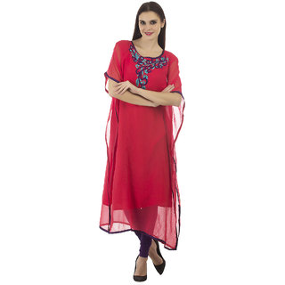 Kurti's Womens Red Embroidered Georgette Kurtis