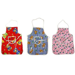 BcH Random Print Cotton Baby Apron Pack of 3 (Multicolor)