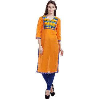 Kurti's Womens Orange Embroidered Cotton Kurtis