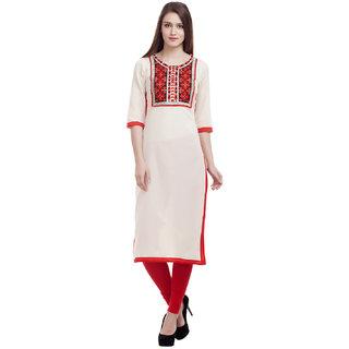 Kurti's Womens WhiteRed Embroidered Cotton Kurtis