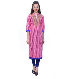 Kurti's Womens Pink Embroidered Cotton Kurtis