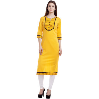 Kurti's Womens Yellow Solid Cotton Kurtis