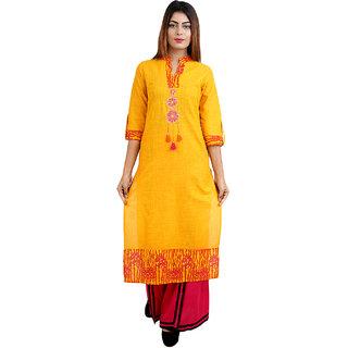 Kurti's Womens Yellow Embroidered Cotton Kurtis