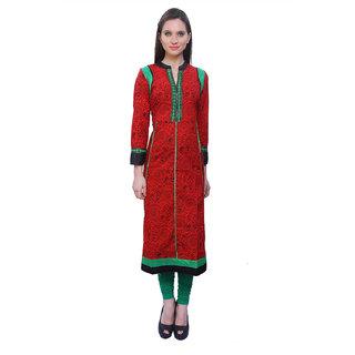 Kurti's Womens Red Embroidered Cotton Kurtis