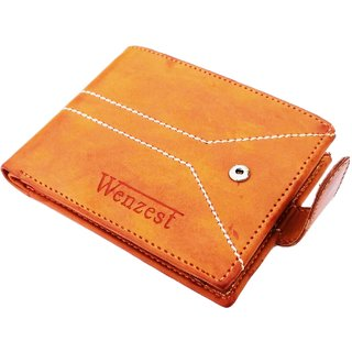 wenzest Men Tan Genuine Leather Wallet (5 Card Slots)