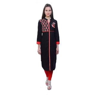 Kurti's Womens RedBlack Embroidered Rayon Kurtis