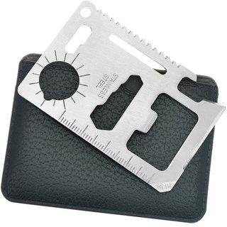 Peepalcomm  11 in 1 Multi Function Tool Mini Pocket Card Survival Tool Stainless Steel Opener Ruler Knife Saw Wrench