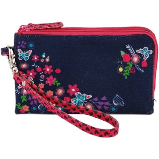 Pinaken Butterfly Bloom Embroidered  Embellished Multicolor Walking Purse
