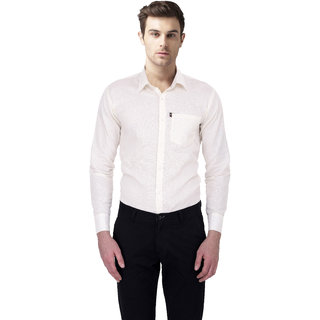 Blue Origin R Code Casual Slim Fit White Shirts for Men
