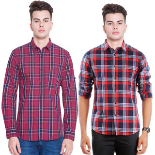 Blue Origin R Code Casual Slim Fit   Poly-Cotton Shirts for Men Combo Of 2