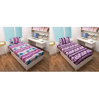 Fashion Forest Ahmdabad Cotton Superior Quality Single Bedsheet Combo Pack of 2
