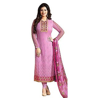 Ffashion Georgette Embroidered Salwar Suit Dress Material (SP-ZUBEDAPINK)