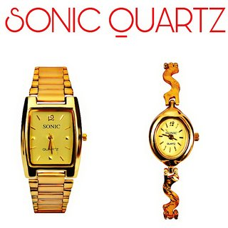 Sonic Golden Rectangular And Designer Oval Couple Watches