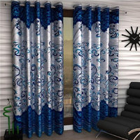 India Furnish New Collection  Beautiful Panel Design Turquoise Color Eyelet Polyester Curtain Door Length (Set of 2 Pcs) 84x48