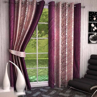 India Furnish New Collection Beautiful Flower Design Brown Color Eyelet Polyester Curtain Door Length (Set of 4 Pcs) 84x48