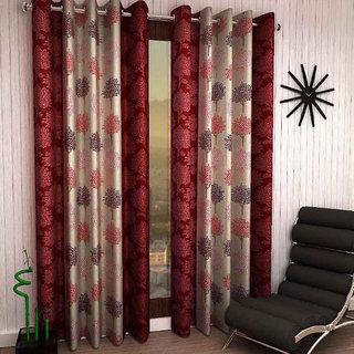 Beautiful Tree Design Maroon Color Eyelet Polyester Curtain Long Door Length (Set of 2 Pcs) 108x 48