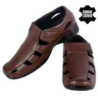 074 brown mens genuine leather sandle
