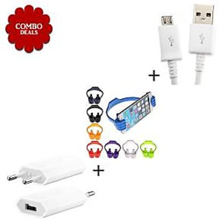 Combo of USB Wall Charger V8 Micro USB Data Cable Ok Stand - Assorted Color