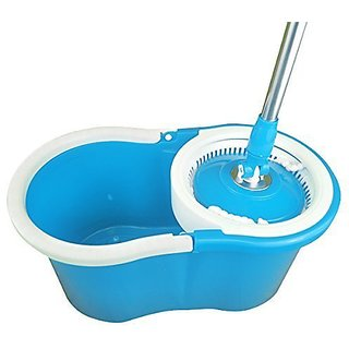 Easy Magic Floor Mop 360? Bucket 2 Heads Microfiber Spin Spinning Rotating...