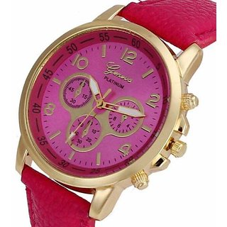 GENEVA BRAND CHRONOGRAPH STYLED WOMENS WATCH - (PINK).
