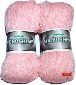 Vardhman Microshine Pink 400 gm hand knitting Soft Acrylic yarn wool thread for Art & craft, Crochet and needle