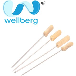 wellberg premium BBQ Skewers, Stainless Steel Skewers, BBQ Grill Stick Needle, Kabab sticks with wooden handle ( 4 pcs )