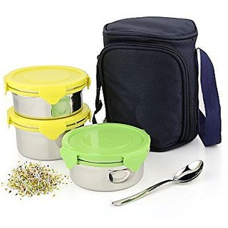 Kitchen Delli Stainless Steel Lock Bowl Lunch Box Airtight Storage Container, Each Container Capacity 400Ml, Set Of 3 Multicolor