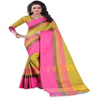 Dhanu Fashion Self Design Multicolor Cotton Silk Saree