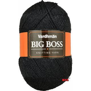 Vardhman Bigboss Black  200 gm hand knitting Soft Acrylic yarn wool thread for Art & craft, Crochet and needle